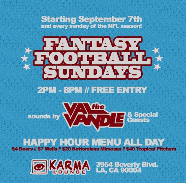 Karma Lounge presents Fantasy Football Sundays [EVERY SUNDAY]